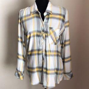 Gap soft flannel button down plaid top shirt